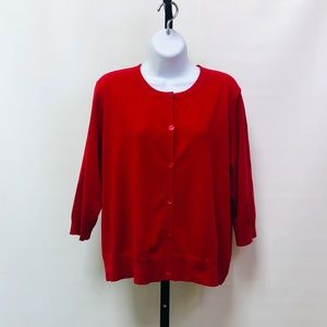 Eileen Fisher Red Cotton/Cashmere  Crop Sweater